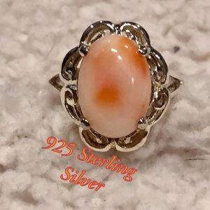 Boho 925 Sterling Silver ring w/ multi color stone